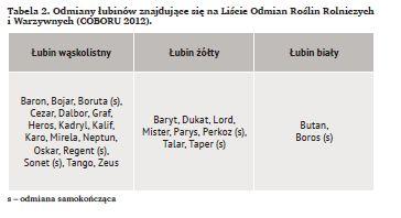 Odmiany łubinów znajdujące się na Liście Odmian Roślin Rolniczych i Warzywnych (COBORU 2012)