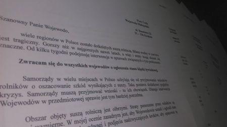 Poseł Norbert Kaczmarczyk interweniuje u Wojewodów w sprawie ogłoszenia stanu klęski żywiołowej.